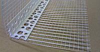 Угол перфорированный Европа-профиль пластиковый с сеткой 100 х 100 мм (3 м)