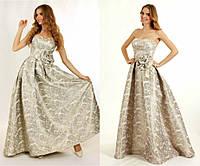 Пышное вечернее платье на корсете из парчи G0768 (р.40-44)