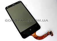Сенсорный экран (тачскрин) для Nokia 620 Lumia черный (Оригинал)