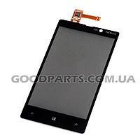Сенсорный экран (тачскрин) для Nokia 820 Lumia черный (Оригинал)