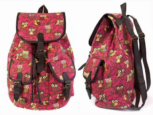 Рюкзак холщовый красный Совы