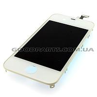 Дисплей с тачскрином и рамкой для iPhone 4 белый (Оригинал)