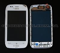 Сенсорный экран (тачскрин) с рамкой для Nokia 710 Lumia белый (Оригинал)