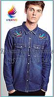 Мужские джинсовые рубашки с Вашим логотипом (под заказ от 50 шт) с НДС