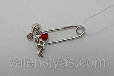 Серебряная булавка Ангелочек с эмалью