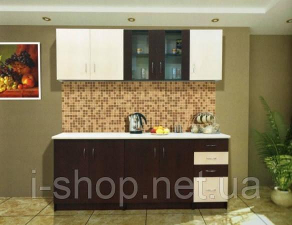 Кухня Венера - Кухня 2,0 м. (тёмное; светлое венге) без столешницы