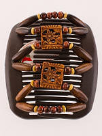 Заколка для волос African butterfly Dupla на основе 2-х гребней коричневая