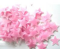 Наклейка виниловая светящаяся Звёзды розовые (100 шт.) 3D декор
