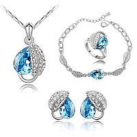 Ювелирный набор украшений Кристалл аквамарин 4 в 1, фото 1