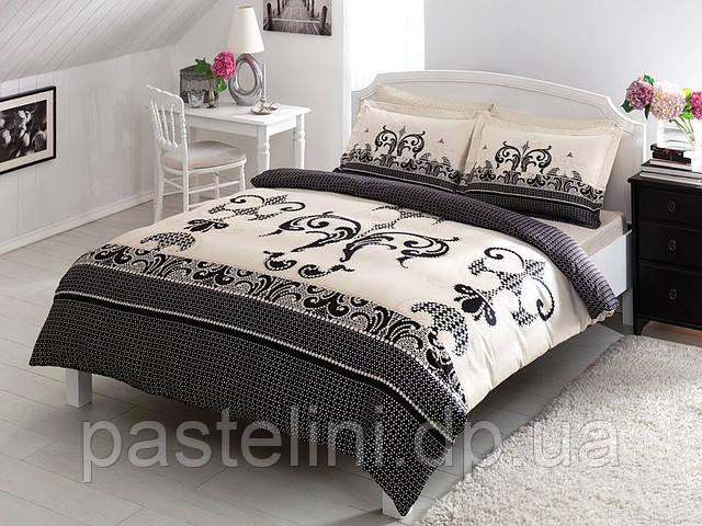 TAC saten Delux Jaden black  евро комплект  постельного белья