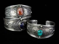 Браслет с камнем широкий тибетское серебро
