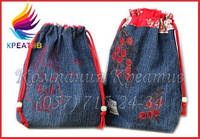 Детские джинсовые рюкзаки с вашим логотипом/вышивкой (под заказ от 50 шт) с НДС