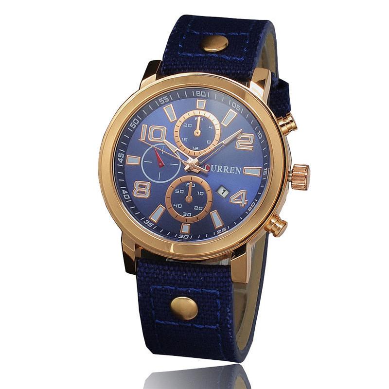 Мужские часы CURREN 8199 Gold & Blue на ремешке из ткани