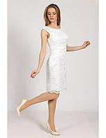 Коктейльное платье-футляр из гипюра Р0506A (р.44-50) молоко