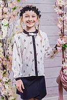 Школьная блузка для девочки sh9 (рисунок сердечки,якорь или ключики)