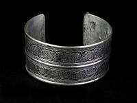 Браслет широкий узоры тибетское серебро