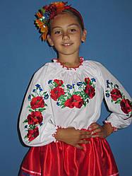 Красивая вышитая детская блузка с красными маками