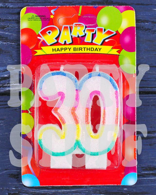 Свеча цифра радуга на юбилей 30 лет
