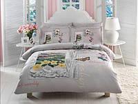 TAC евро комплект  постельного белья saten Delux Pavia gri