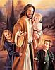 """Картина для рисования камнями Diamond painting Алмазная вышивка """"Иисус и дети"""" полная выкладка"""