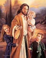 """Картина для рисования камнями Diamond painting Алмазная вышивка """"Иисус и дети"""" полная выкладка, фото 1"""