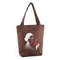 Сумка стандарт рогожка Девушка с кофе, фото 1