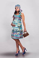 Легкий сарафан для беременных Голубые разводы из батиста