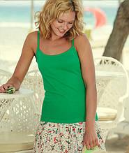 Женская майка на бретельках LADY-FIT STRAP T - 61-024-0 Майка, Без рукава, Fruit of the Loom, Прилегающий, Хлопок, ярко-зеленый