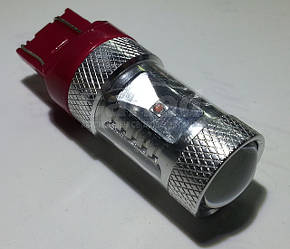 Светодиодная автолампа 7443 30W-RED (550Lm) + Линза Original CREE LED двухконтактная безцокольная