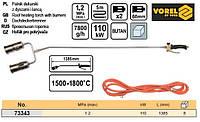 Паяльник газовий 2 сопла L= 1385 мм шланг l= 5 м VOREL-73343