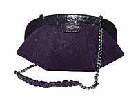 Клатч-кошелёк фиолетовый, замш, фото 1