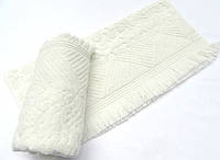 Махровое полотенце 70х140 с бахромой Arya Damask Ayca кремовое