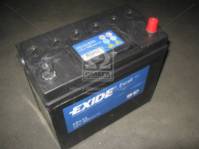 Аккумулятор Exide EXCELL 45Ah R+ EN300 Asia (тонк.клемы), фото 2