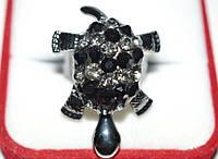 Кольцо черный металл, черные камни, черепаха 23_6_200