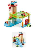 """Игровой набор Viga Toys """"Гараж"""", деревянный гараж, деревянная дорога"""