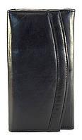 Кожаный, качественный и вместительный женский кошелек SWAN art. 1155 черный