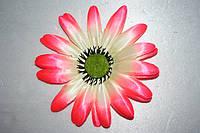 Атласная ромашка № 22, Ø 13см розовый+белый