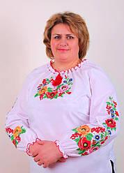 Вышиванка сорочка женская с длинным рукавами принтована цветами есть большие размеры до 62