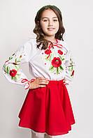 Детская вышиванка для девочки маки ЖТ18, фото 1