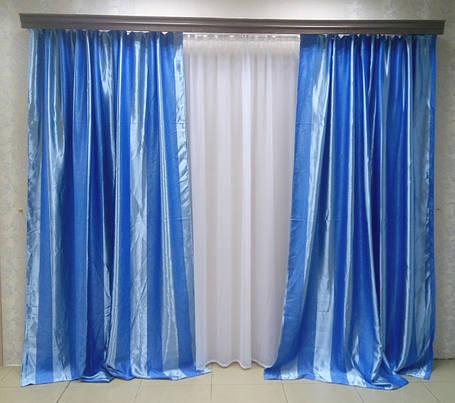 Готовые Шторы Блэкаут Полоса 319Е (голубые), фото 2