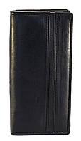 Кожаный, прочный и удобный женский кошелек SWAN art. Б/Н черный гладкий 3 отделения