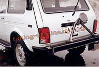 Защита заднего бампера  (крашенная) с креплением под запасное колесо D60 на Lada Niva 2121-21214