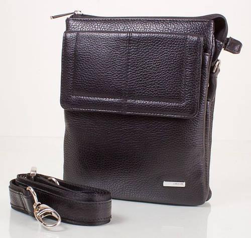 Стильная мужская сумка из кожи флотар Karya SHI0365-2 черный