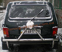 Защита заднего бампера  с креплением под запасное колесо D60 (нерж. сталь) на Lada Niva 2121-21214