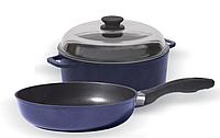 """Набор посуды Индиго (сковорода и кастрюля со стеклянной крышкой) синяя 220/3л. ТМ """"Биол"""""""