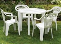 Комплект садовый стол Tondo+4 кресла Altea белый