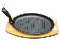 Сковорода чугунная  порционная на подставке овал 27*17 см, США
