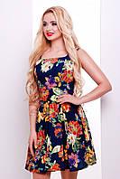 Короткое летнее платье темно-синее в цветы Ария 42-50 размеры