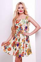 Короткое летнее платье бежевое в цветы Ария 42-50 размеры