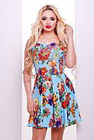 Короткое летнее платье голубое в цветы Ария 42-50 размеры